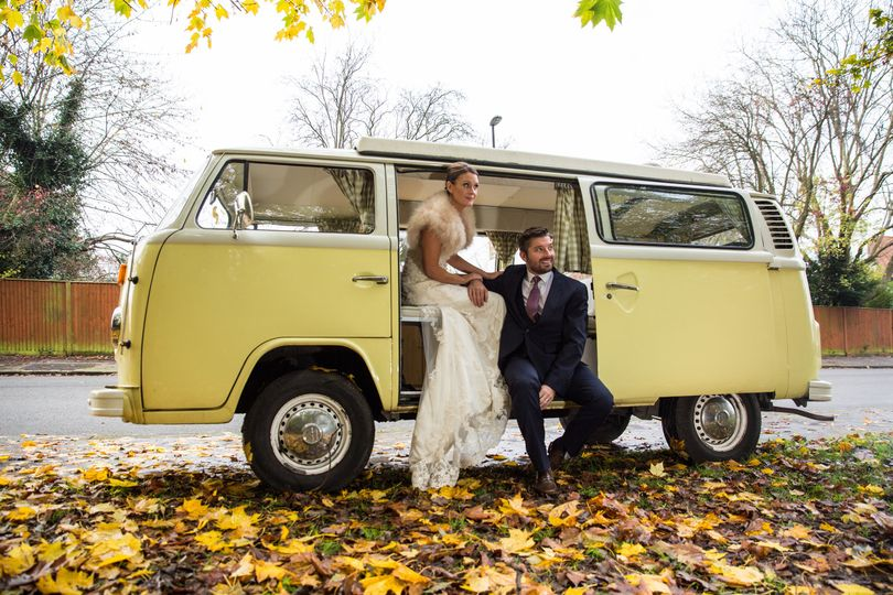 Yellow vw camper wedding