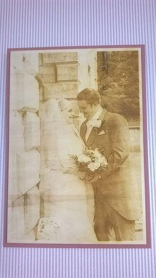 Engraved wedding photo in wood
