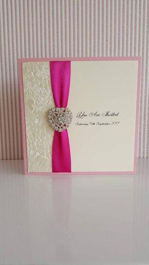 Pink heart invite