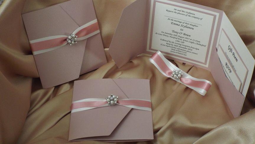 Dusky pink & ivory pocketfold
