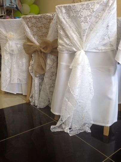 Hessian sashes and lace hoods