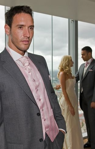 Grey suit with pink waistcoat
