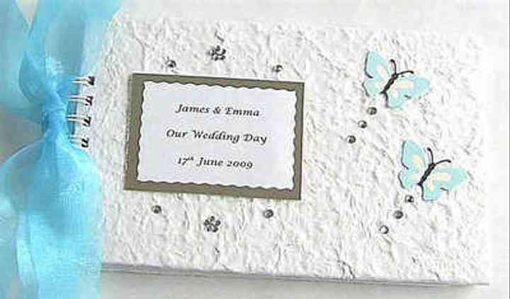 Aqua Butterflies Personalised Wedding Guest Book