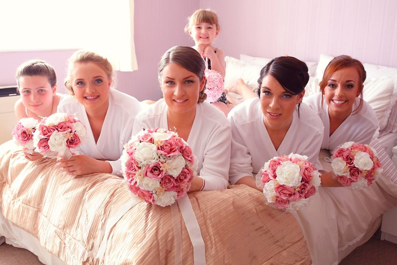 Bridesmaids on the bed