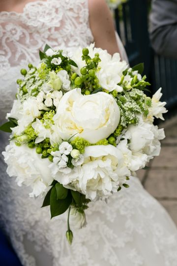 White peony country bouquet
