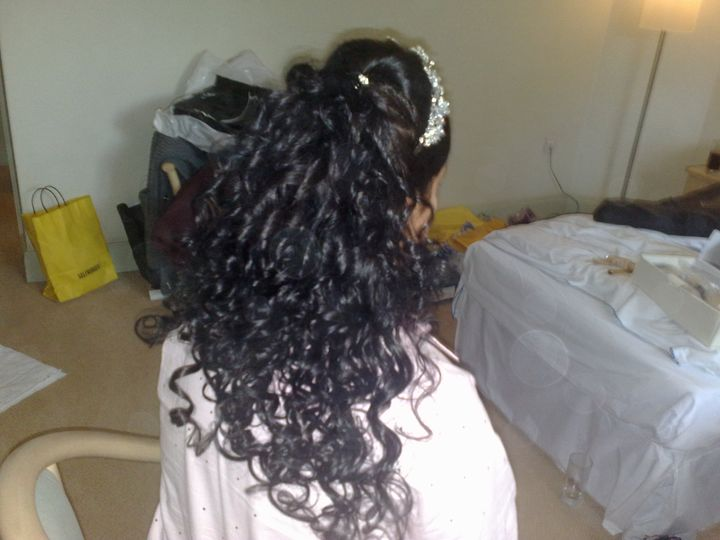 Curly half up half down bridal