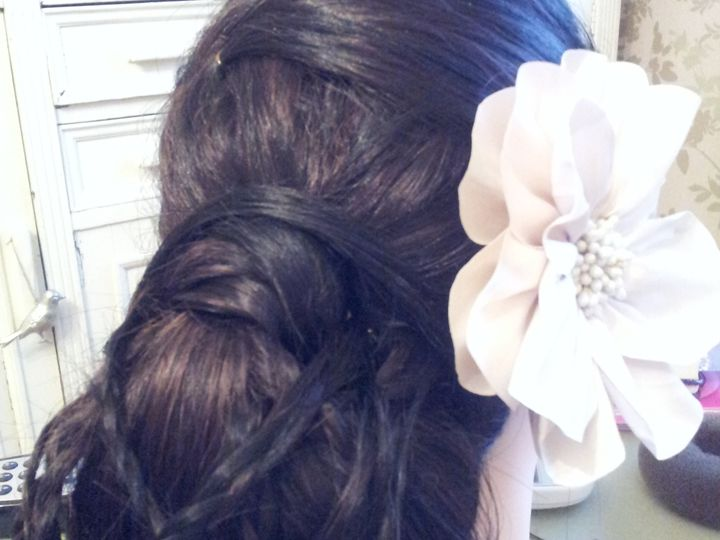 Bun with plaits bridal