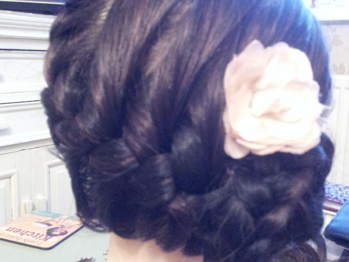 French plait into bun on side