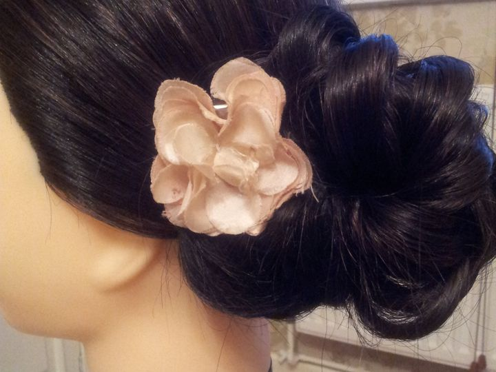 Textured side bun bridal