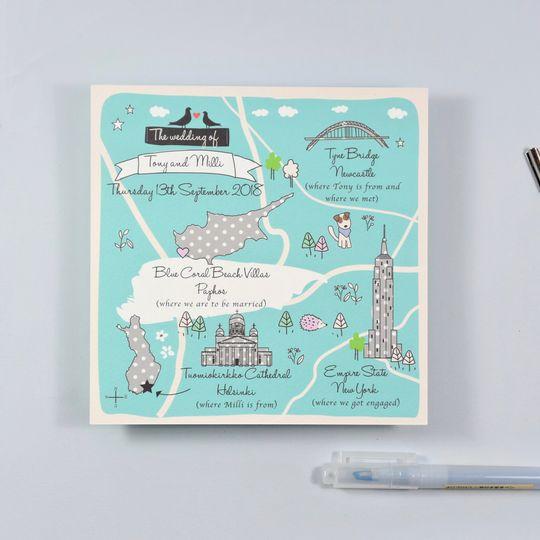 Bespoke Illustrate Map Wedding