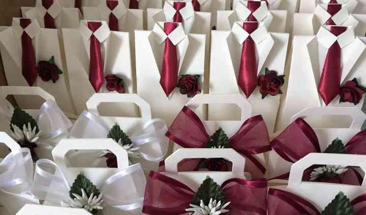 Handbags & suit wedding favour