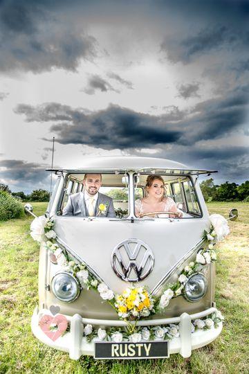 Campervan wedding photo