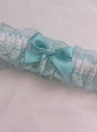 Blue with white garter