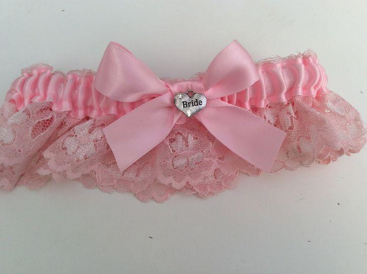 Pink bride charm garter