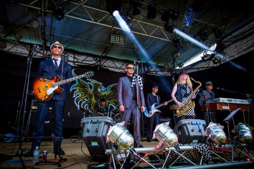 Ska band on festival stage