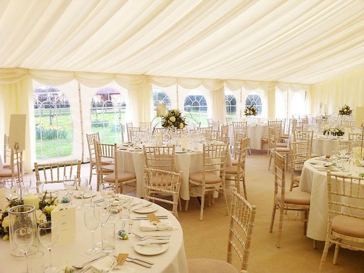 Marquee with chiavari chairs