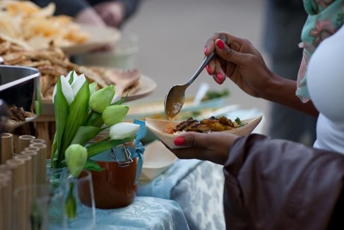 Barbecue and a range of fresh salads offered to guests throughout the evening. Photo © Alex Freeman...
