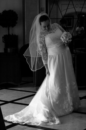 Bride checking dress