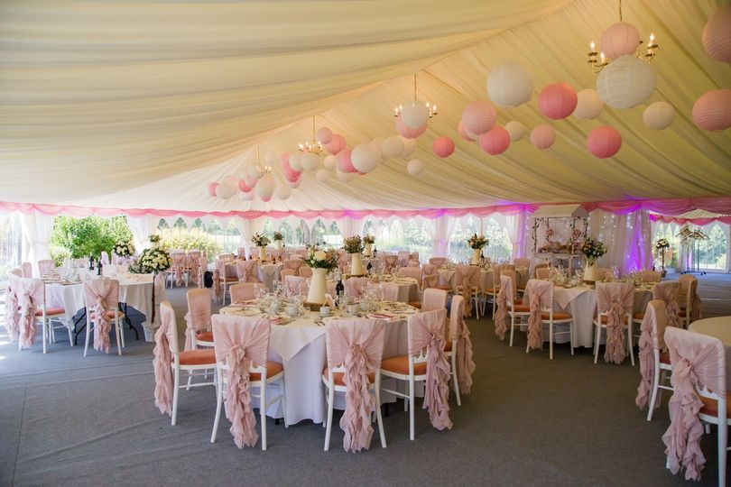 Reception marquee setup