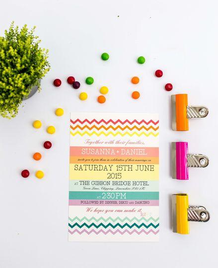 Rainbow chevron invitation