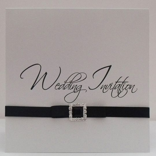 Tent fold invite with ribbon and buckle