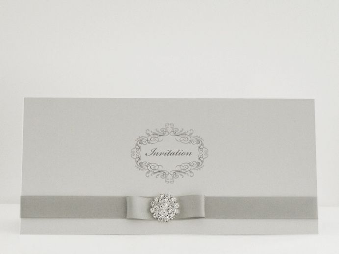Tent fold invite with ribbon and embellishment