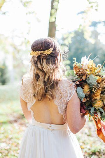 Half up style bridal hair