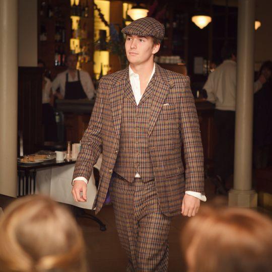 Bespoke tweed wedding suit