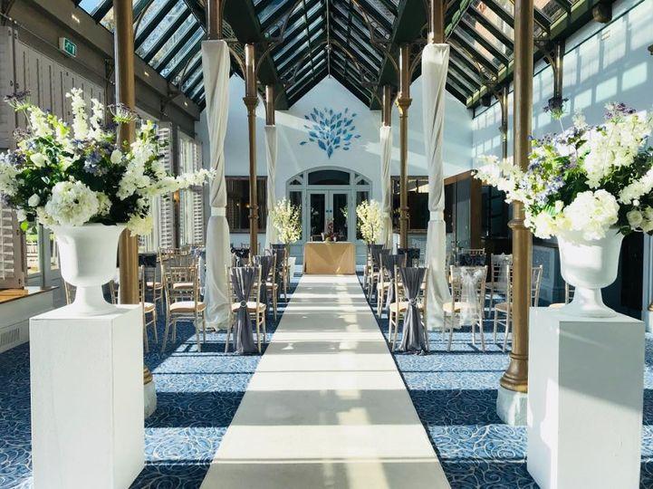 Aisle Carpet, Pillars & Urns
