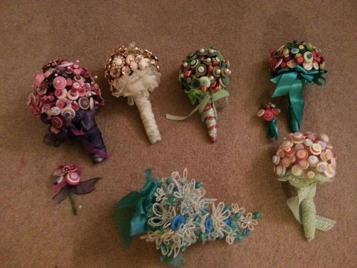 Button and crystal bouquets