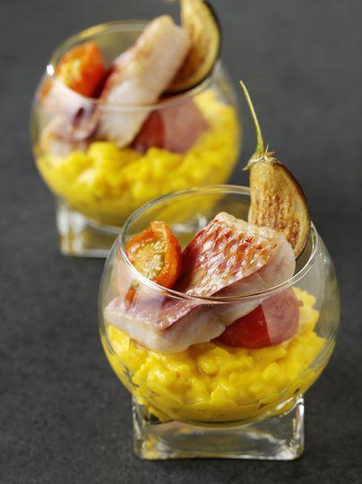 Red mullet saffron risotto