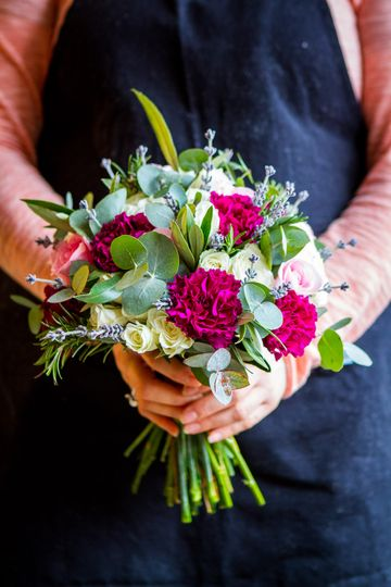 Carnations and herbs
