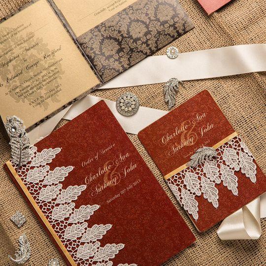 Downton wedding stationery