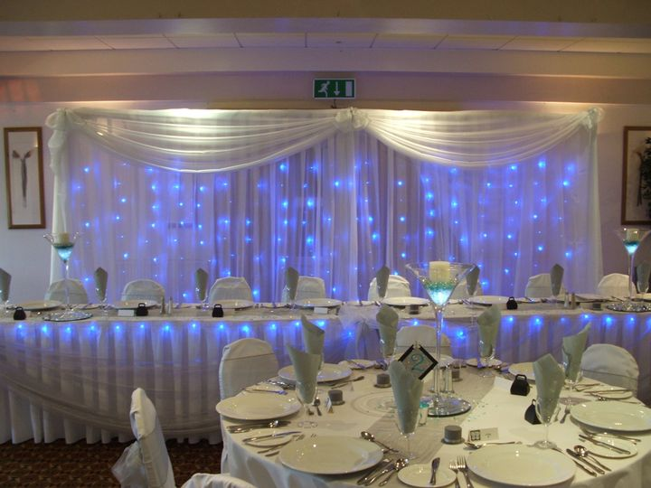 Twinkly curtains with sashes and swags