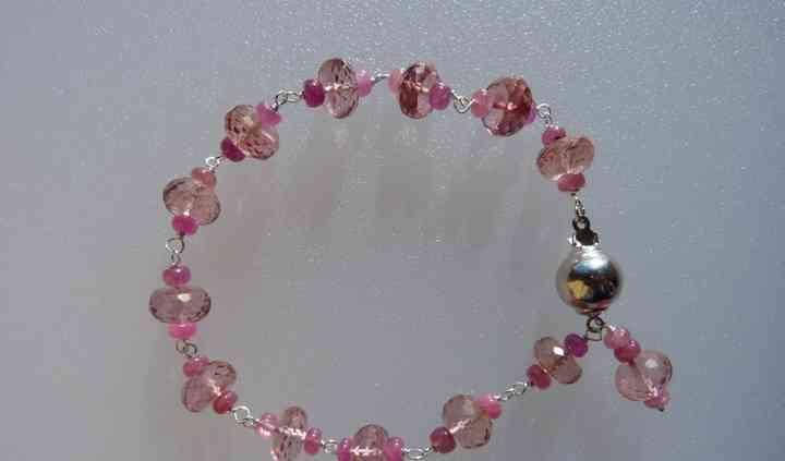 Pink quartz & sapphire bracele