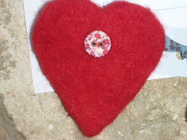 Larger red needlfelted heart, floral button