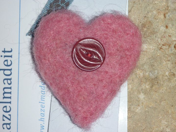 Pink needlefelted heart, vintage button