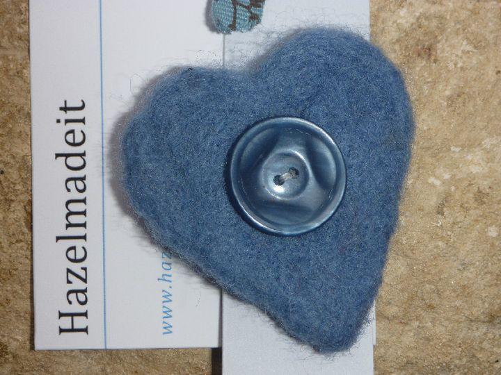 Blue needlfelted heart, vintage heart
