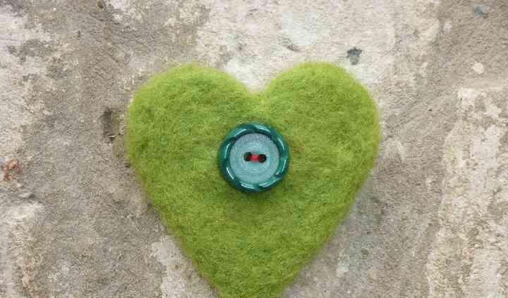 Green needlfelted heart, vintage button