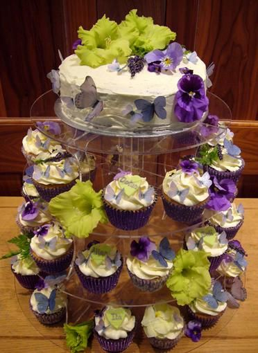 Fully decorated cupcake tower