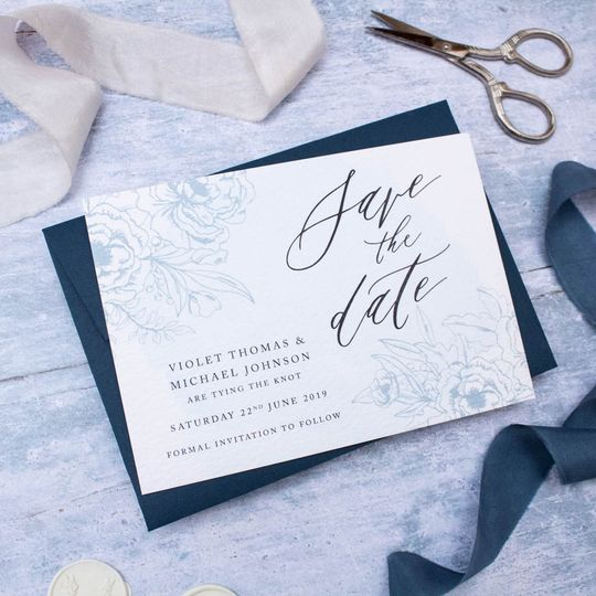 Refined Blue Save The Date